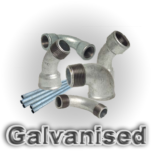 Galvanised malleable threaded fittings and steel pipes